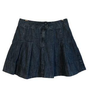 H&M Pleated Blue Jean Denim Skirt